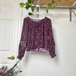 Hollister Floral Peasant Top with Sleeve Detailing